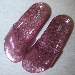 Pink glitter Urban outfitters slides size 8